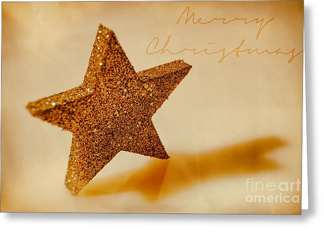 Golden Star Merry Christmas Greeting Card by Sabine Jacobs