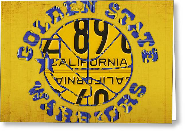 Basketball Team Greeting Cards - Golden State Warriors Basketball Team Retro Logo Vintage Recycled California License Plate Art Greeting Card by Design Turnpike