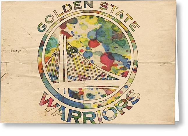 Best Sellers -  - Slamdunk Greeting Cards - Golden State Warriors Logo Art Greeting Card by Florian Rodarte
