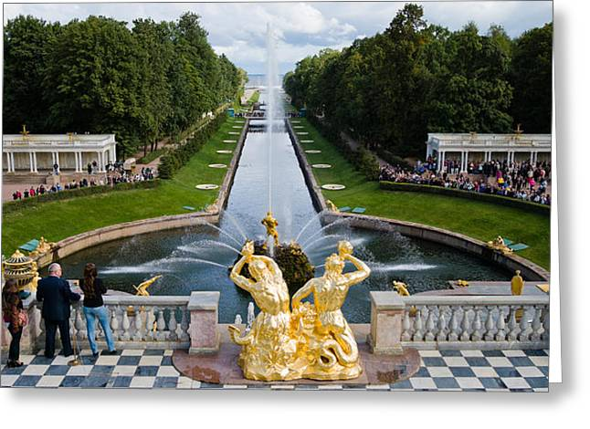 Commonwealth Of Independent States Greeting Cards - Golden Statue And Fountain At Grand Greeting Card by Panoramic Images