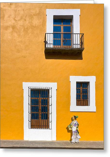 Puebla Greeting Cards - Golden Streets Of Puebla Mexico Greeting Card by Mark E Tisdale