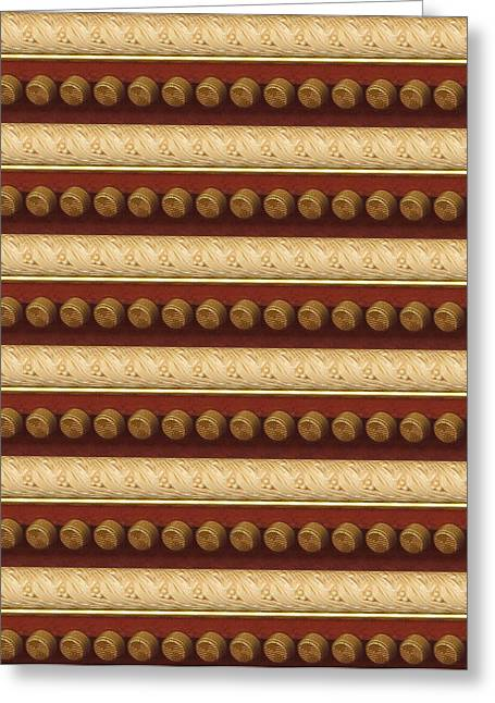 Surprise Greeting Cards - Golden Strip and Vintage Knob Pattern Chinese Decorations Greeting Card by Navin Joshi