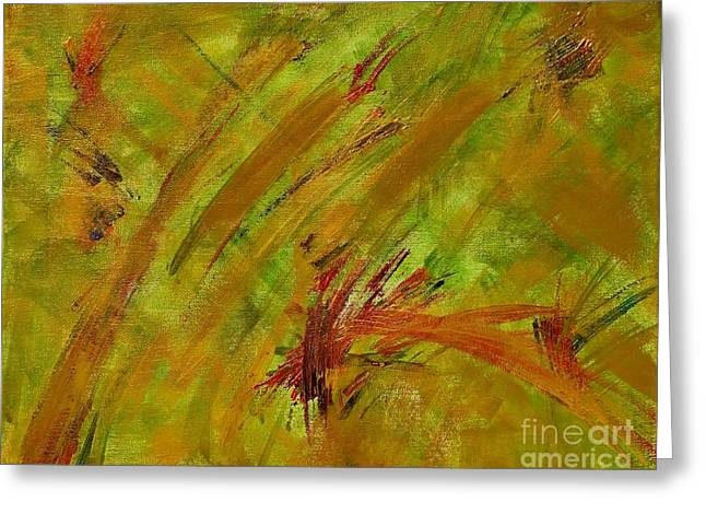 Gold Lime Green Greeting Cards - Golden Summer Abstract Greeting Card by Anne Clark