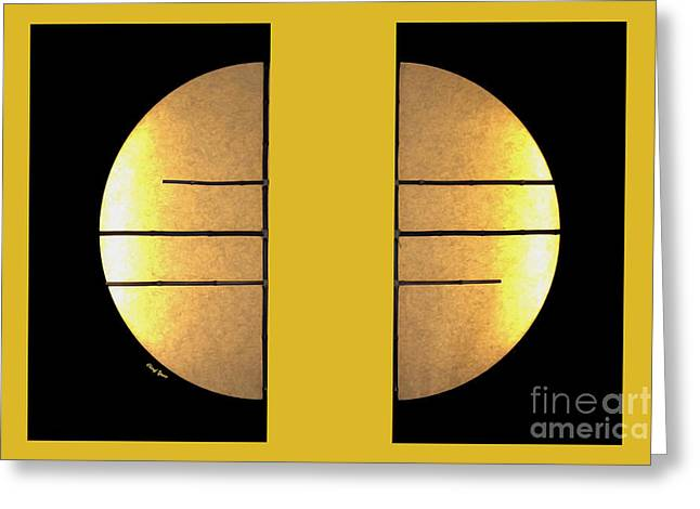 Bamboo House Greeting Cards - Golden Sun Diptych Greeting Card by Cheryl Young