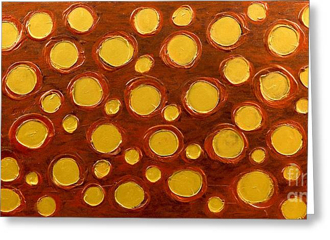 Metallic Reliefs Greeting Cards - Golden Sunlight - Abstract Oil Painting Original Metallic Gold Textured Modern Contemporary Art Greeting Card by Emma Lambert
