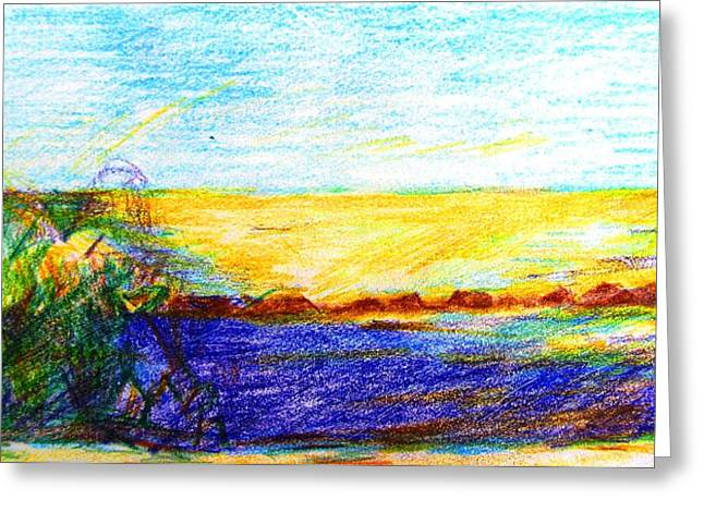 Mediterranean Landscape Drawings Greeting Cards - Golden Sunlight on the Sea Cyprus Greeting Card by Anita Dale Livaditis