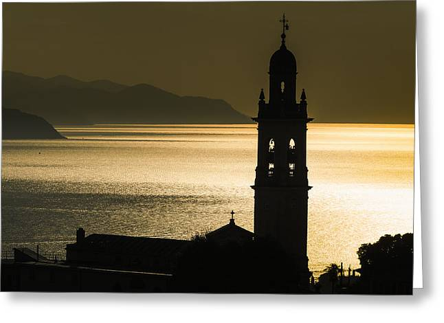 Italian Sunset Greeting Cards - Golden Sunlight Reflected On Water Greeting Card by Yves Marcoux