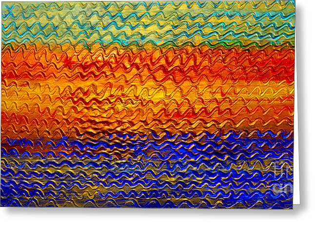 Signed Reliefs Greeting Cards - Golden Sunrise - Abstract Relief Painting Original Metallic Gold Textured Modern Contemporary Art Greeting Card by Emma Lambert