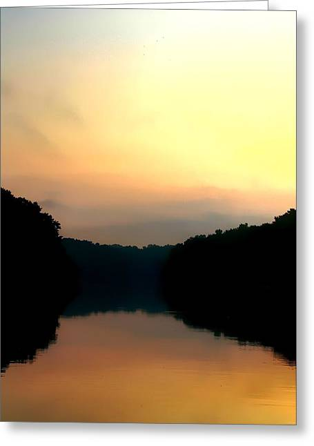 Reflections Of Trees In River Greeting Cards - Golden Sunrise Greeting Card by Debra Forand