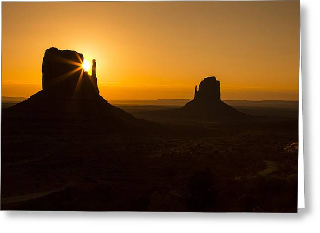 Navajo Tribal Park Greeting Cards - Golden Sunrise Monument Valley Greeting Card by Garry Gay