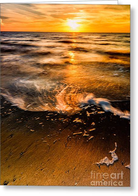 Evening Scenes Greeting Cards - Golden Sunset Greeting Card by Adrian Evans