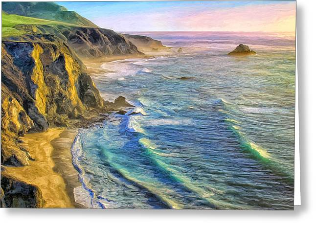 Big Sur Beach Paintings Greeting Cards - Golden Sunset at Big Sur Greeting Card by Dominic Piperata