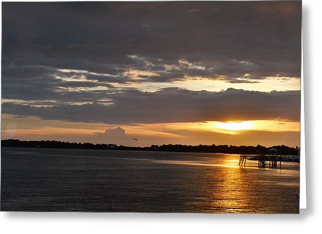 Cedar Key Greeting Cards - Golden Sunset at Cedar Key Greeting Card by rd Erickson