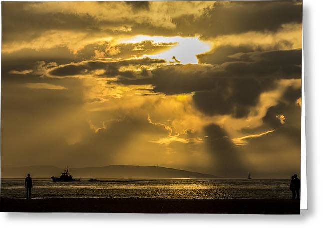 Crosby Greeting Cards - Golden sunset at Crosby Beach - Liverpool Greeting Card by Paul Madden