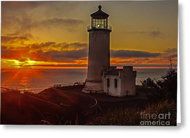 Haybales Greeting Cards - Golden Sunset at North Head Lighthouse Greeting Card by Robert Bales