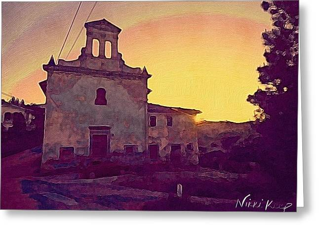 Best Sellers Greeting Cards - Golden Sunset behind the Chapel in Umbria Greeting Card by Nikki Keep
