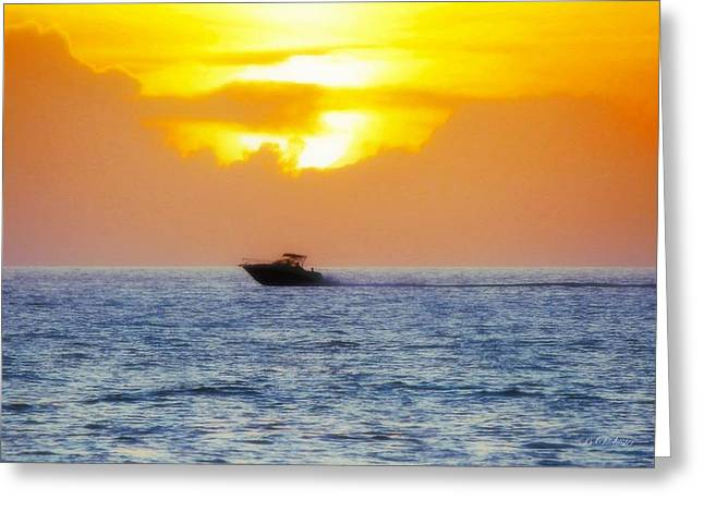 Seacape Greeting Cards - Golden Sunset Boat Ride Greeting Card by Barbara Chichester