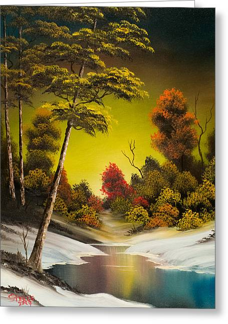 Bob Ross Paintings Greeting Cards - Winter Sunset Greeting Card by C Steele
