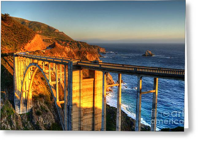 Bixby Bridge Greeting Cards - Golden Sunset Greeting Card by Diana Vitoshka