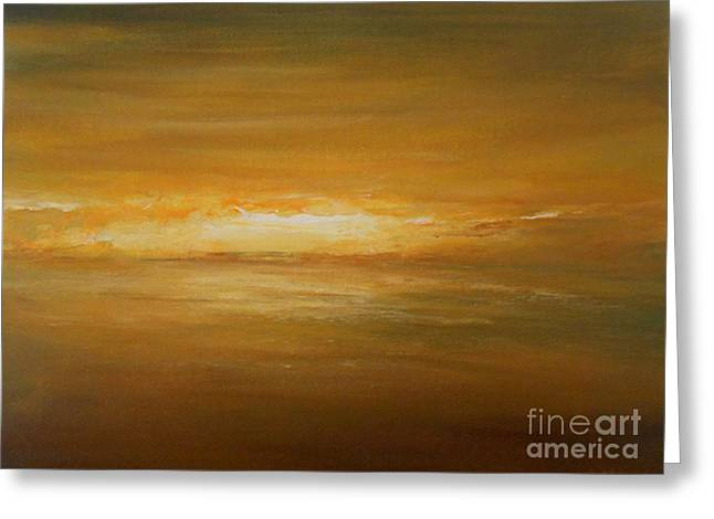 Jane See Art Greeting Cards - Golden Sunset Greeting Card by Jane  See