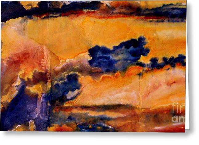 Sunset Framed Prints Mixed Media Greeting Cards - Golden Sunset Greeting Card by Julia  Walsh