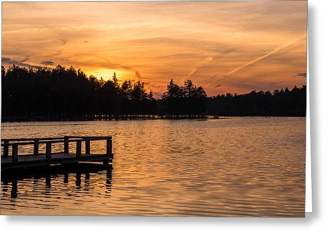 Landscape Iphone Phone Case Greeting Cards - Golden Sunset Lake Horicon Lakehurst NJ Greeting Card by Terry DeLuco