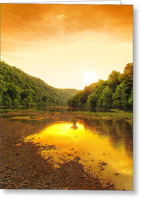 Arkansas Greeting Cards - Golden Sunset on Buffalo River Greeting Card by Bill Tiepelman