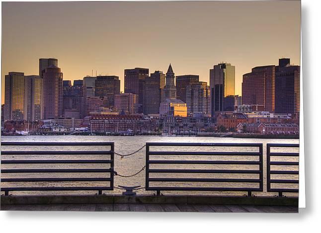 Golden Sunset Over Boston Greeting Card by Joann Vitali