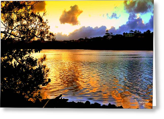 Gift Glass Greeting Cards - Golden sunset over Terranora Greeting Card by Kevin Perandis