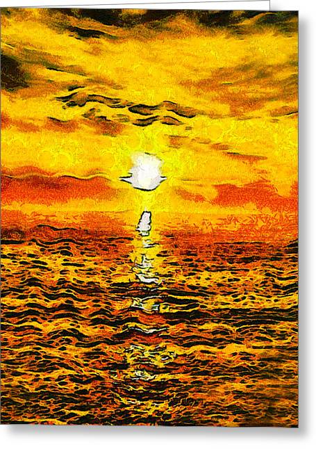 California Beach Art Digital Art Greeting Cards - Golden Sunset Pismo Beach Abstract Greeting Card by Barbara Snyder