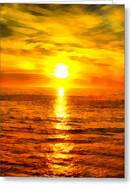 California Beach Art Digital Art Greeting Cards - Golden Sunset Pismo Beach California Greeting Card by Barbara Snyder