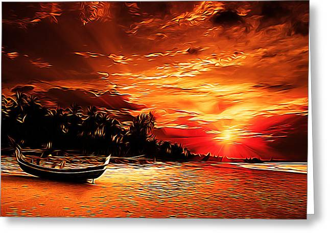 Amazing Sunset Paintings Greeting Cards - Golden Sunset Greeting Card by Studio