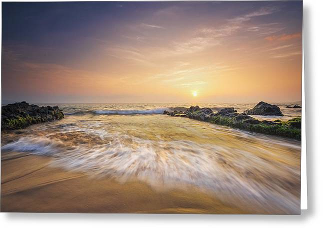 Golden Sunset Greeting Card by Hawaii  Fine Art Photography