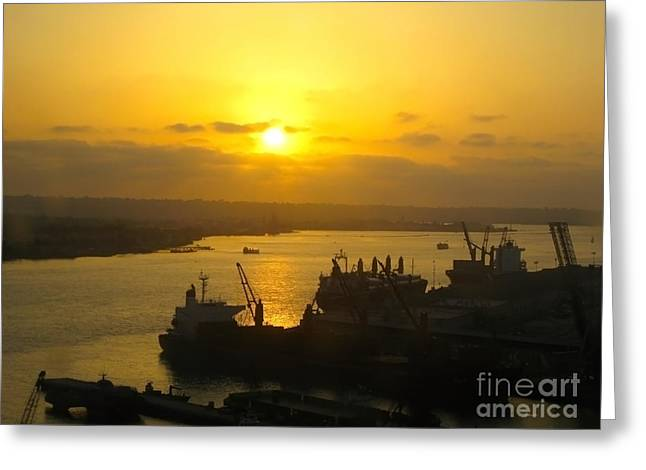Customizable Greeting Cards - Golden Sunset Viewed From Coronado Bridge Greeting Card by Claudia  Ellis