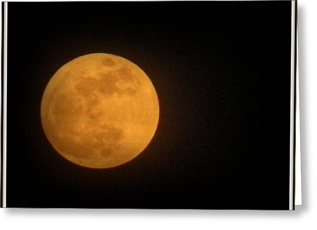 Harvest Moon Greeting Cards - Golden Super Moon Greeting Card by Kathy Barney