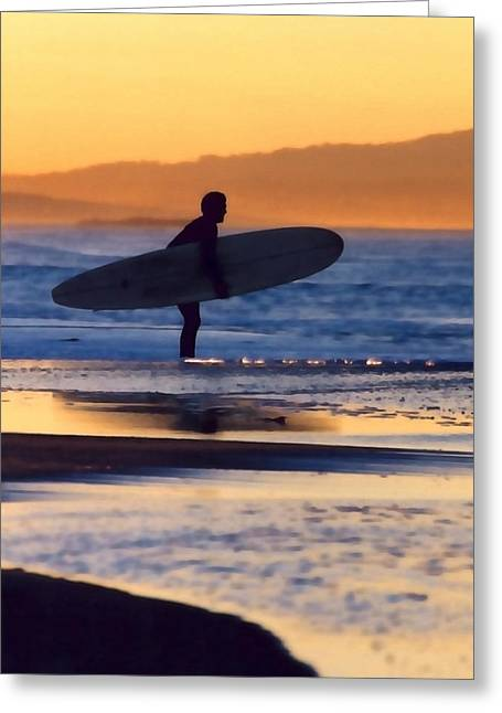 Surf Silhouette Greeting Cards - Golden Surfer Greeting Card by Art Block Collections