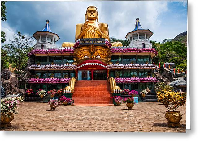Ceylon Greeting Cards - Golden Temple in Dambulla 1. Sri Lanka Greeting Card by Jenny Rainbow