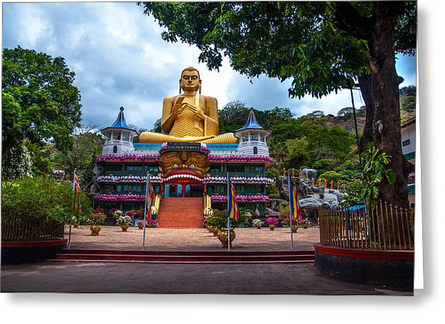Ceylon Greeting Cards - Golden Temple in Dambulla 2. Sri Lanka Greeting Card by Jenny Rainbow