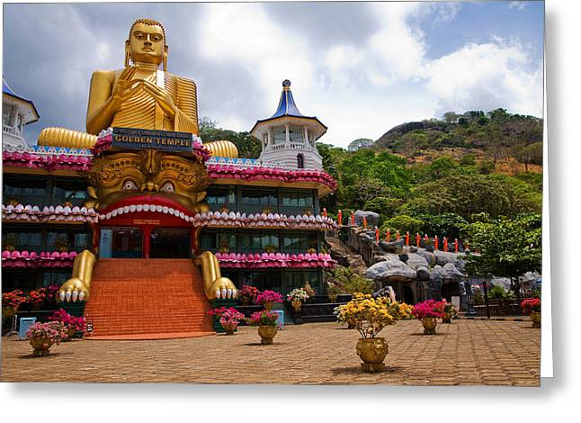 Ceylon Greeting Cards - Golden Temple in Dambulla. Sri Lanka Greeting Card by Jenny Rainbow
