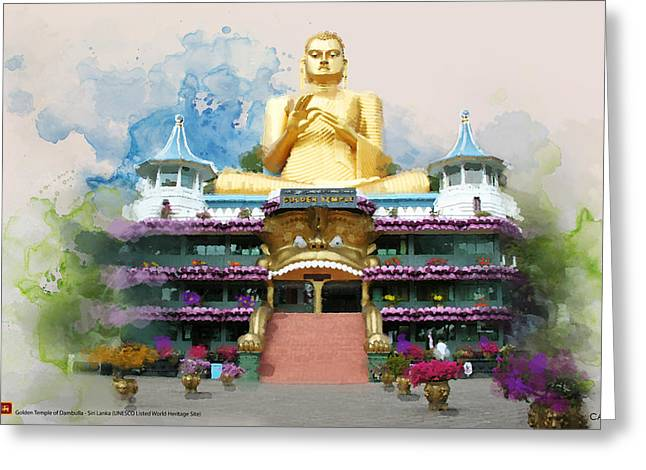 Historic Statue Paintings Greeting Cards - Golden temple of Dambulla Greeting Card by Catf