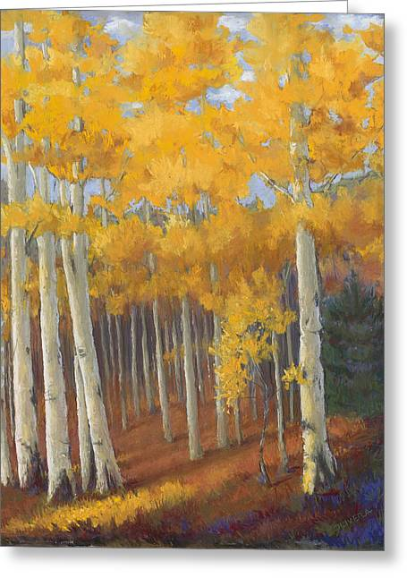 Fall Colors Pastels Greeting Cards - Golden Treasure Greeting Card by Mary Olivera