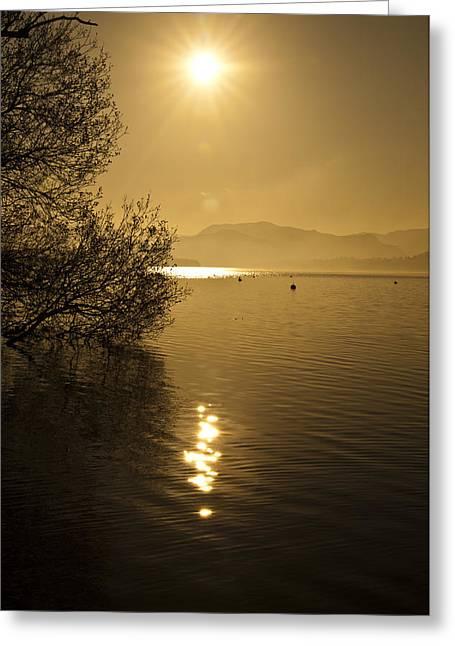 Glowing Water Greeting Cards - Golden Ullswater Evening Greeting Card by Meirion Matthias