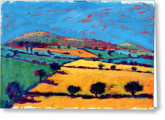Summer Landscape Greeting Cards - Golden Valley Acrylic On Card Greeting Card by Paul Powis