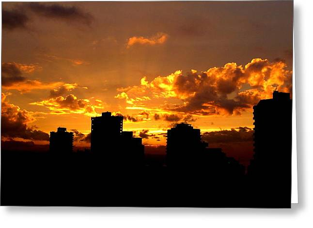 Sunset Framed Prints Greeting Cards - Golden Vancouver Sunset Greeting Card by Brian Chase