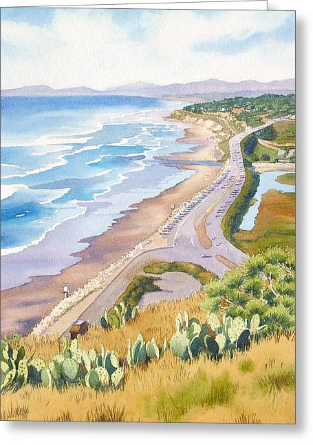 Highway Greeting Cards - Golden View from Torrey Pines Greeting Card by Mary Helmreich