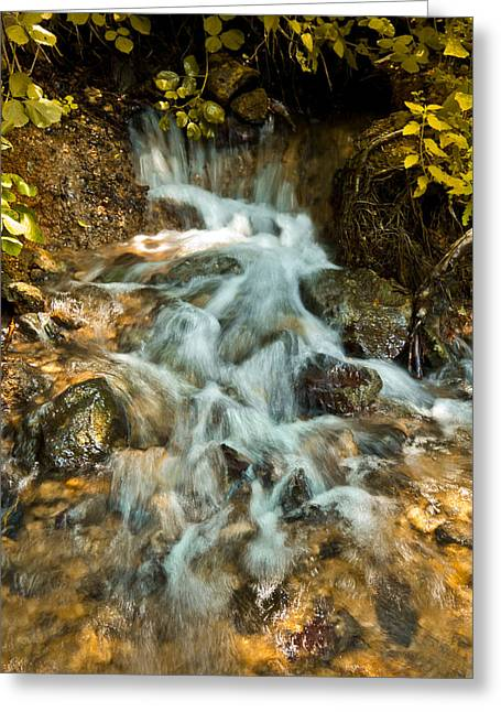 Rock Greeting Cards - Golden Waterfall Greeting Card by Nadya Ost