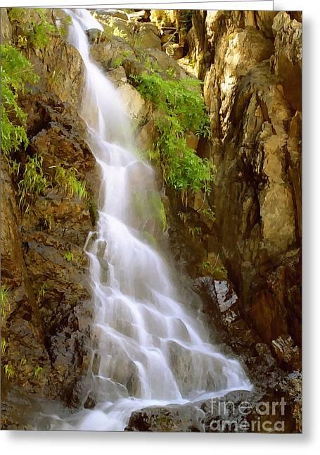 Deer Creek Greeting Cards - Golden Waterfall Painterly Greeting Card by Peter Piatt