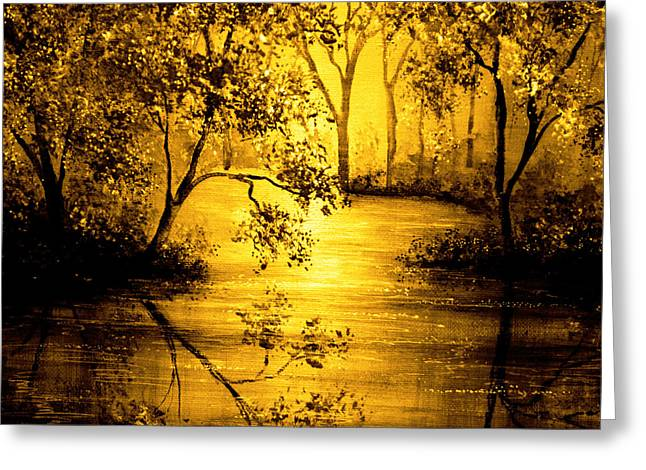 Kinkade Greeting Cards - Golden Waters Greeting Card by Ann Marie Bone