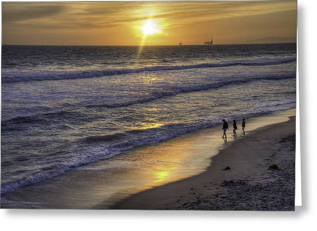 Surf City Greeting Cards - Golden West Sunset Greeting Card by Spencer McDonald
