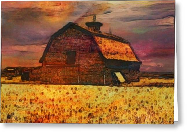 Sunset Posters Greeting Cards - Golden Wheat Sunset Barn Greeting Card by PainterArtist FIN